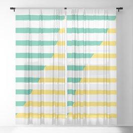 Beach Stripes Green Yellow Sheer Curtain