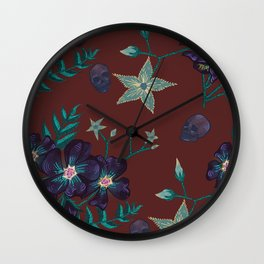Illustration digital art purple flower pattern with skull red  background Wall Clock