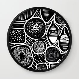 Black and white pattern - linogravure style Wall Clock