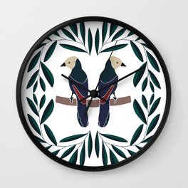 Birds on the branch // Green and black leaves // Exotic parrots Wall Clock