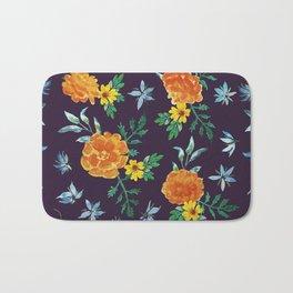 Dark Floral: Marigolds and Borage Bath Mat