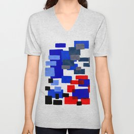 Modern Mid Century Abstract Geometric Cube Square Acrylic Painting Blue With Red Accents Unisex V-Neck