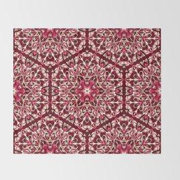 Red geometric Mandala Rich Ornament Throw Blanket