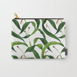 Tropical lily leaves watercolor dark seamless pattern Carry-All Pouch