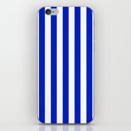 Cobalt Blue and White Vertical Beach Hut Stripe iPhone Skin