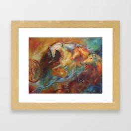 Krishna's horses Framed Art Print