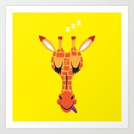 Sleepy Giraffe Art Print