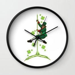 Pole Dance Leprechaun - Pole Fitness Ireland Lucky Wall Clock