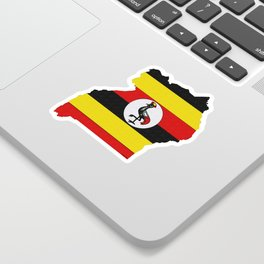 Uganda Map with Ugandan Flag Sticker
