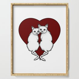 Cat Couple, White Cats with Big Red Heart, Love, Romance Serving Tray