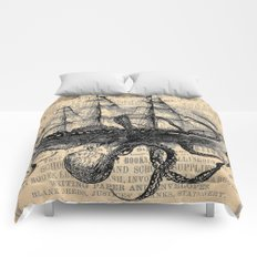 Octopus Kraken attacking Ship Antique Almanac Paper Comforters