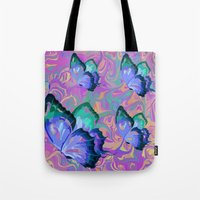 butterflies Tote Bags featuring butterflies by Shea33