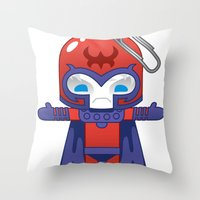 magneto Throw Pillows featuring MAGNETO ROBOTIC by We Are Robotic