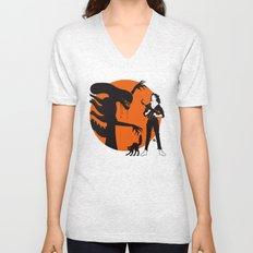Alien Cartoon Style - Orange Unisex V-Neck