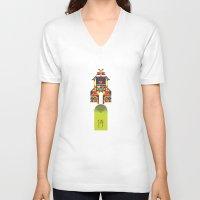 samurai V-neck T-shirts featuring Samurai by marcus marritt
