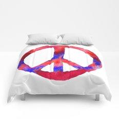 Patriotic Peace Sign Tie Dye Watercolor Comforters