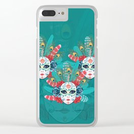 Masquerade face mask Clear iPhone Case