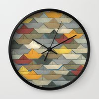 boats Wall Clocks featuring Boats by GLOILLUSTRATION