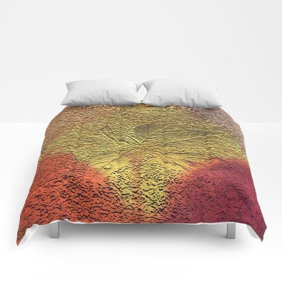Golden leaves with purple pink and orange metallic look Comforters