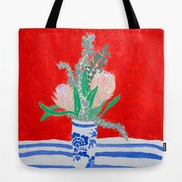 Protea Still Life in Red and Delft Blue Tote Bag