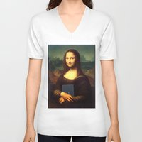 mona lisa V-neck T-shirts featuring mona lisa by Roman Belov