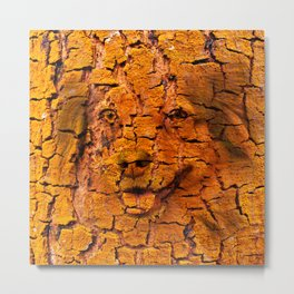Portrait of a cute dog in tree bark texture Metal Print