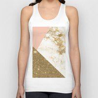 marble Tank Tops featuring Gold marble collage by cafelab