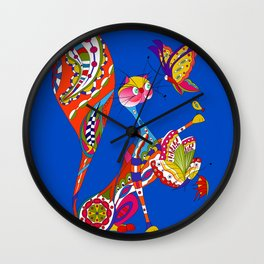 Cat and two butterflies Wall Clock