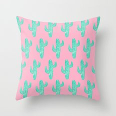 Linocut Cacti Candy Throw Pillow