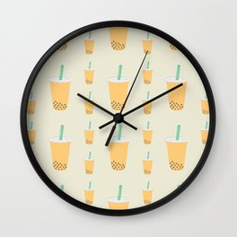 Passion Fruit Bubble Tea Pattern Wall Clock