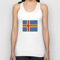 finland Tank Tops featuring aaland country flag finland by tony tudor