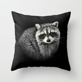 A Gentle Raccoon Throw Pillow