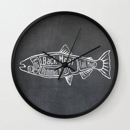 Salmon Butcher Diagram (Seafood Meat Chart) Wall Clock