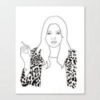 kate moss Canvas Prints featuring Kate Moss by Whiteland