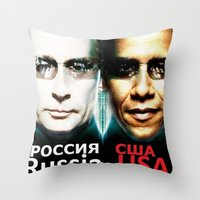 russia Throw Pillows featuring Russia  USA by Pavlo Tereshin