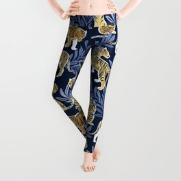 Nouveau yellow tigers // navy blue background blue leaves white lines yellow gold animals Leggings