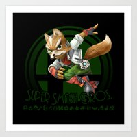 super smash bros Art Prints featuring Fox - Super Smash Bros. by Donkey Inferno