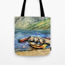 Boats On Lake McDonald Watercolor Tote Bag