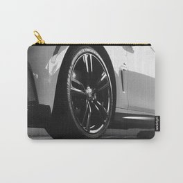 Black Rim Sports Car // White Paint Street Level B&W German Bavarian Motor Automobile Photograph Carry-All Pouch