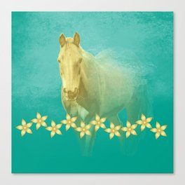 Golden ghost horse on teal Canvas Print