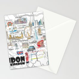 London UK Illustrated Travel Poster Favorite Map Tourist Highlights Stationery Cards