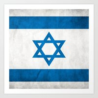 israel Art Prints featuring Israel Flag  by Jason Michael
