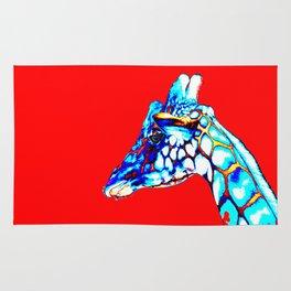 Colorful Giraffe Red (Left facing) Rug