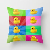 duck Throw Pillows featuring duck by mark ashkenazi