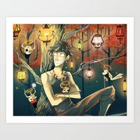 lanterns Art Prints featuring Lanterns by Nadiezda
