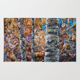 Birch Trees with Palette Knife by OLena Art for @society6 Rug