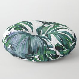 Tropical Palm Leaves Classic on Marble Floor Pillow