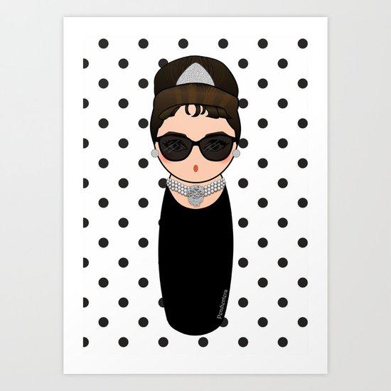 Kokeshi Audrey Hepburn Art Print