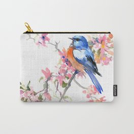 Bluebird and Cherry Blossom Carry-All Pouch