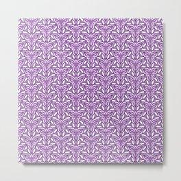 Purple Curves Lavender Floral Purple and White Radial Design Spirit Organic Metal Print